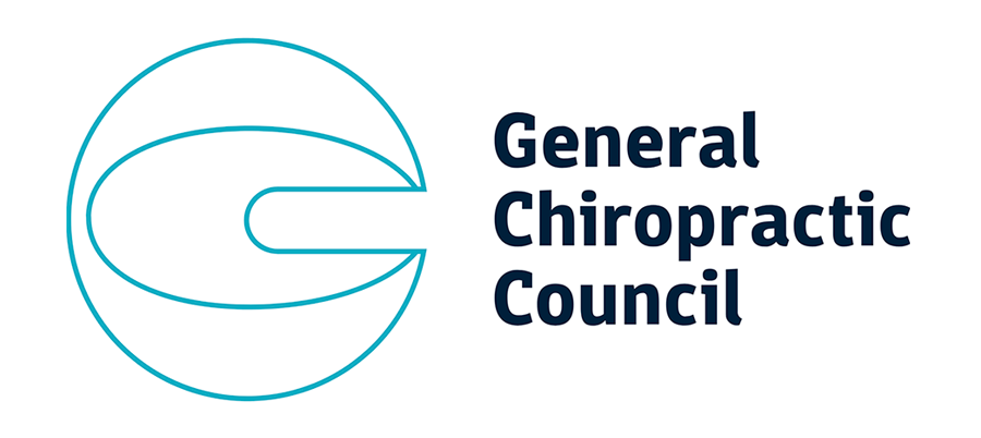 General Chiropractic Council logo in black and turquoise